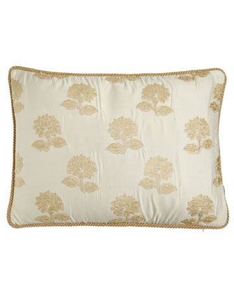 King Sham with Chenille Flowers & Cord Trim
