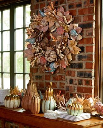 Wood Pumpkins, 5-Piece Set