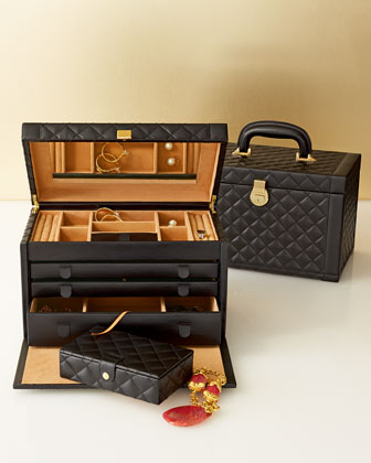 Black Quilted Jewelry Box