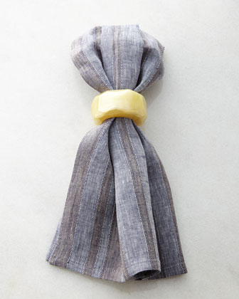 Rattan-Weave Placemat, Capri Striped Napkin, & Coordinating Napkin Rings