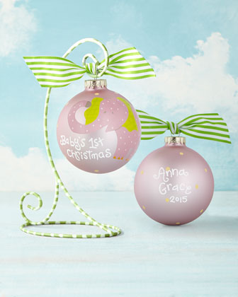 Baby's First Christmas Elephant Girl Christmas Ornament