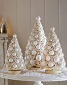 Three Ivory Bauble Trees