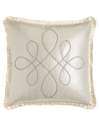 Scroll Pillow with Pleated Trim, 20