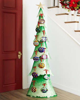 Tall Capiz Christmas Tree with Ornaments