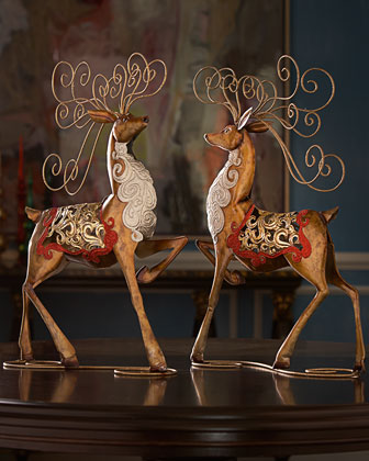 Two Metal Reindeer