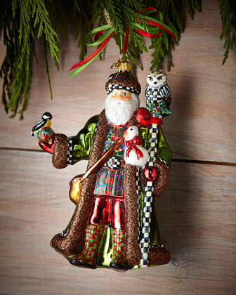 Bird Watching Santa Christmas Ornament