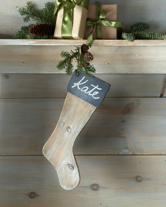 Chalkboard Wooden Christmas Stocking