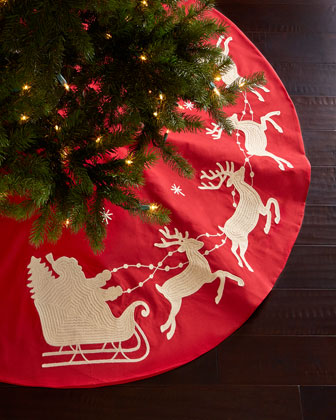 Santa & Sleigh Christmas Tree Skirt