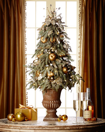 Frosted Gold Topiary Tree