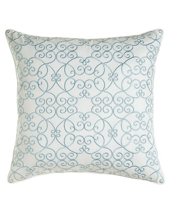 Pillow with Blue Scroll Embroidery, 18