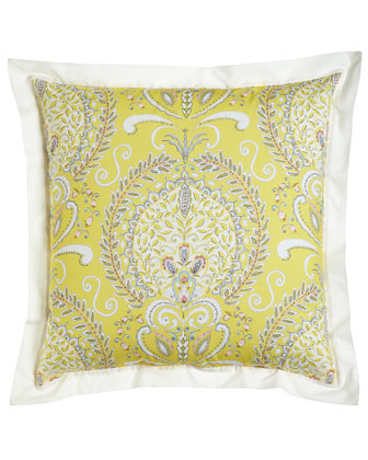 Yellow Floral European Sham with White Border