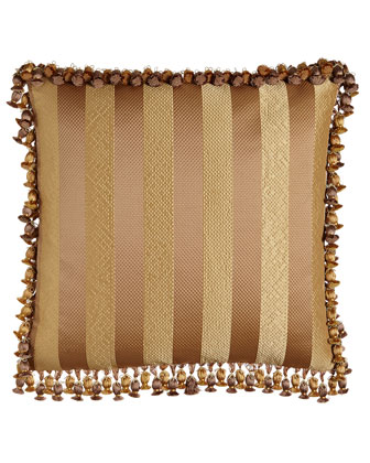Striped European Sham with Onion Tassel Fringe