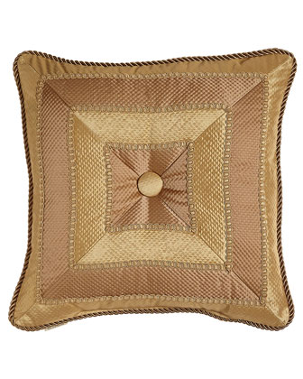 Mitered-Stripe Pillow with Button & Cording, 18