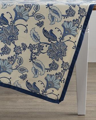 Jacobean Floral Block-Print Table Topper