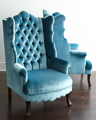 Peacock Velvet Wing Chair