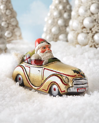 Santa in Golden Car Figure