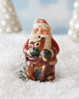 Santa Hugging Deer Figure