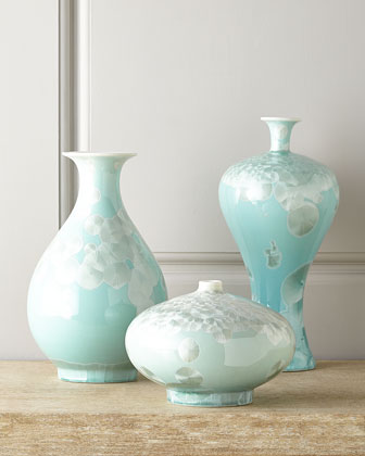 Three Swirling Leaves Aqua Vases