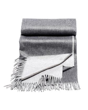 Gray Fringed Cashmere Blanket