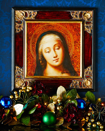 Madonna Oil Painting in Square Frame