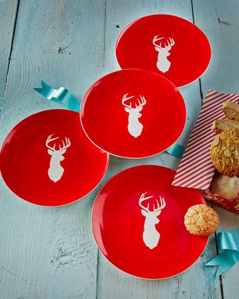 Four Stag Dessert Plates