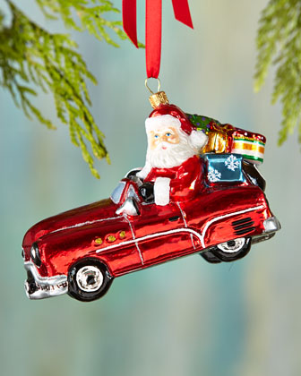 Sports Car Santa Christmas Ornament
