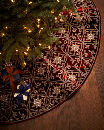 Burgundy & Gold Christmas Tree Skirt