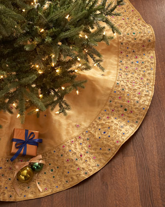 Gold Beaded Christmas Tree Skirt
