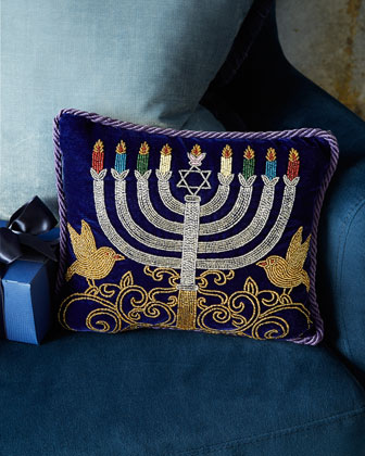 Blue & Silver Menorah Pillow