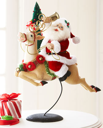 Santa Riding on Reindeer Tabletop Figure