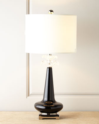 Ebony Blossoms Glass Lamp