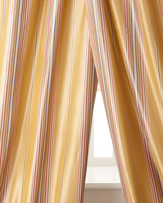 Home Silks, Inc. Windsor Stripe Silk Taffeta Curtains
