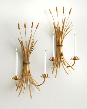 Two Wheat Candle Sconces