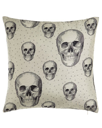 White Calavera Pillow