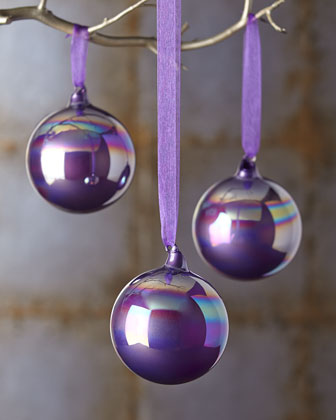 Three Purple Christmas Ornaments