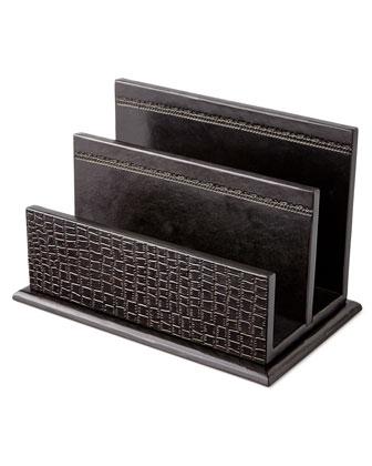 Black Crocodile-Print Leather Desk Accessories