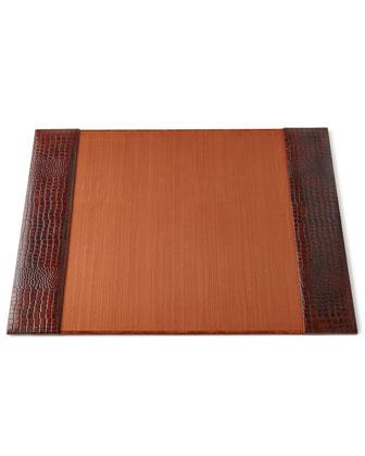 Brown Crocodile-Print Leather Desk Accessories