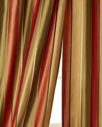 Sutton Striped Silk Taffeta Curtains