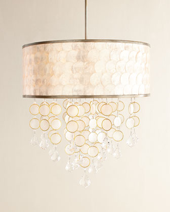 Baronet Three-Light Capiz & Crystal Chandelier