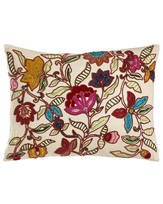 Beaded & Embroidered Floral Pillow, 12