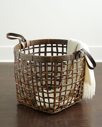 Leather-Handle Rattan Basket