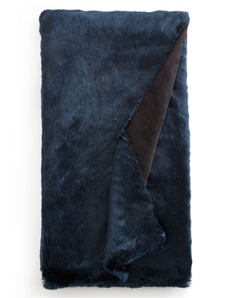 Steel Blue Faux-Fur Throw