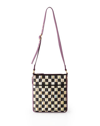Courtly Check Travel Bags with Plum Trim