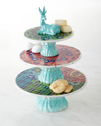 Folklore Holiday Three-Tier Dessert Stand