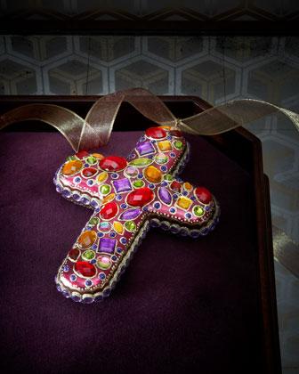 Bejeweled Cross Christmas Ornament