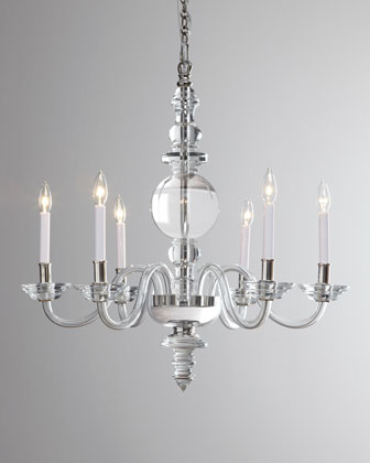 George II Large Six-Light Polished-Nickel Chandelier