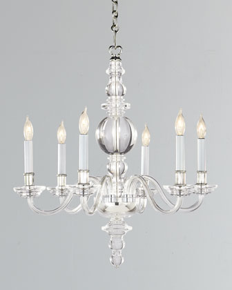 George II Small Six-Light Polished-Nickel Chandelier