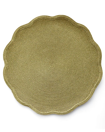 Glimmer Scalloped Placemat, Metallic Jacquard Napkin, & Luxe Orchid Napkin Ring