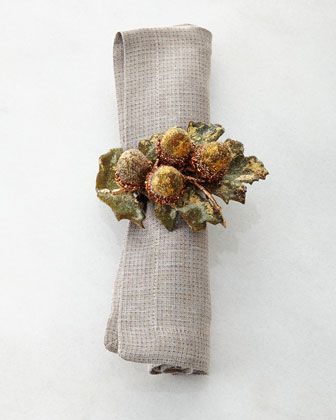 Glimmer Placemat, Reversible Metallic Napkin, & Gilded Acorn Napkin Ring