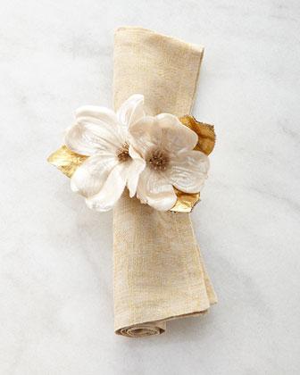 Gold & White Placemats, Napkin, & Napkin Ring